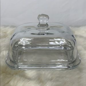 Glass butter dish with sides